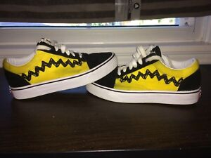 "Ugly god peanuts x vans ""Charlie brown"" pre scuffed skate shoes"