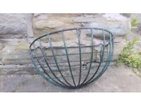 Vintage Plastic Coated Metal Black / Green Garden Wall Planter Basket Hay Manger