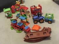 ELC Happyland Country train set, fire station and vet bundle