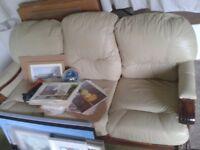 Leather cream three seater sofa