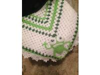 Crochet baby blanket with squeaky frog motif - hand made
