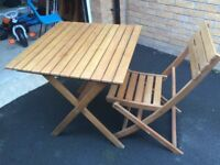 Wooden 2 seater bistro set includes 1 table and 2 chairs