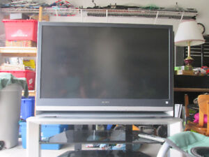 "50"" SONY projection TV with glass stand"