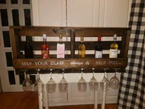 Rustic pallet wine racks