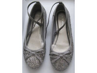 Girls Silver Shoes by Next, size 2.