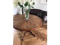 Stunning Antique Round Hardwood Inlay Dining Table Four 4 Balloon Back Chairs