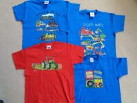 BOYS T-SHIRTS Fleeces, Jumpers. Some are new and unworn. Various ages. M&S, Fruit of the Loom, etc.
