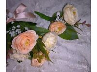 wedding peony corsages and button holes. mix and match or all the same. peach and cream orders taken