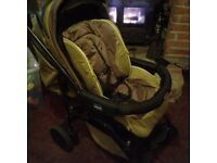 chicco pushchair with car seat foot muff and raincover