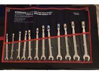 Sealey AK6352 Flex Head Socket Open End Spanner Set