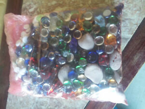 Large pack of decorative assorted coloured beads marbles