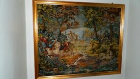 Large Framed Tapestry depicting a; Hunting Scene;