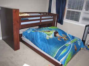 Wooden Bunk Beds - Twin over Full With Stairs - Walnut Finish