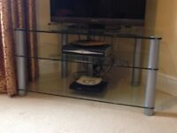 Glass TV Stand with 2 shelves