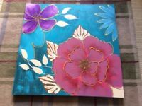 Large colourful painted flower canvas