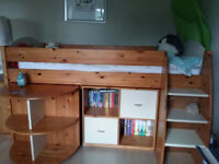 Stompa Rondo Mid Sleeper Bed With Desk, 2 Cubes, 5 Draws & New Unused Mattress