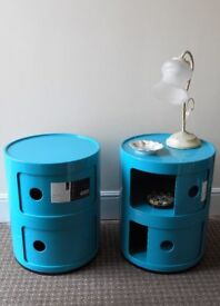 BEDSIDE CABINETS x 2. CIRCULAR, TWO TIER WITH SLIDE DRAWERS, GLOSS TURQUOISE. IDEAL FOR YOUNGSTERS