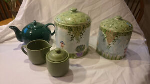 Tea pot, Cannisters, sugar and cream all for One price!