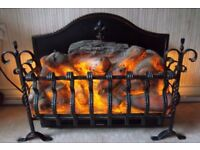 WROUGHT IRON LOG EFFECT LARGE ELECTRIC FIRE FREE STANDING PERFECT FOR INGLENOOK. FOR ORNAMENTAL USE