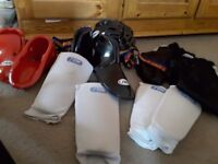 kicboxing shin pads foot protectors and helmet