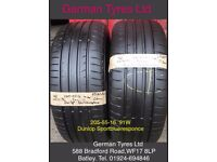 205-55-16 / 205-55 R16 Dunlop Sportblueresponce Part Worn Tyres 5mm+ Tread fitted