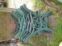 7 x pairs to chose of garden cast iron bench ends