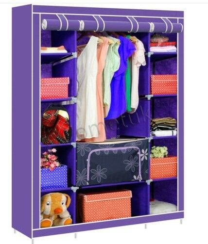Canvas Storage Boxes For Wardrobes: Purple Large Fabric Canvas Wardrobe With Hanging Rail