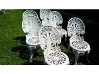 Six vintage garden chairs