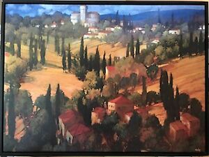 Set of 2 Tuscan oil on canvas pictures