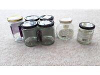 7 empty jam jars