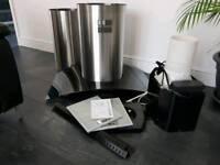 Premier Range Island Cooker Hood - Brushed Stainless/Black Glass