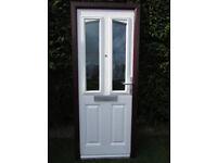 pvc front door brown frame white door