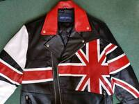 Union Jack British Flag Motorcycle Jacket. Brand New. Quality Cow Hide