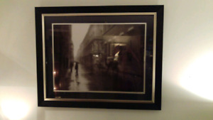Black and silver glass framed print