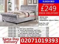 BRAND NEW CRUSH VELVET SLIEGH BED AND MATTRESS Josephine