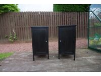 Bed side cabinets, from Ikea, Black ash look, solid wood