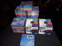 Sony walkman mini disc players x 2, plus 55 blank discs in original wrapping