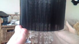 black light shade in very good condition with crystals hanging from centre
