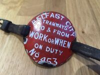 Belfast Tramways Corporation Ulster transport etc items. WANTED