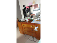 Vintage Wood Dressing Table + Mirror Cabinet Chest of Drawers draws