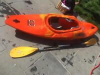 Pyranha Kayak, paddle and spray deck