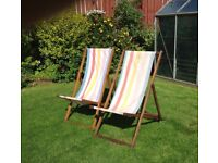 Wooden Deck Chairs x 2