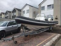 Shakespeare sports 7.5m RIB - Watersports / Diving ready with 225hp Johnson outboard VGC boat