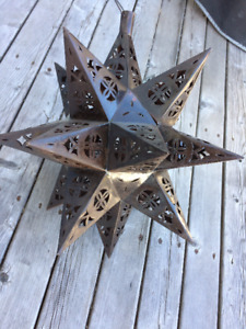 """18"""" Mexican Hanging Tin Star Light"""
