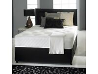 "DIVAN BED SET + 10"" MEMORY FOAM MATTRES + HEADBOARD (OPTIONAL COLOURS)"