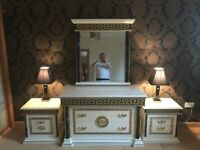 imported Italian bedroom furniture - Stunning **2 bedside units & 3 drawer chest and mirror *£499*