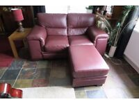 Leather 2 seater sofa, with matching 2 chairs & 2 footstools
