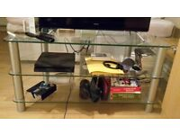Rectangular Glass TV Stand with 3 shelves and real holes for cables