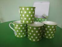 Brand new fine china mugs (Stechcol) - Green & white spotted