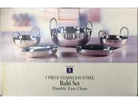 2 x 5-PIECE STAINLESS STEEL BALTI SETS BRAND NEW UNUSED NOS